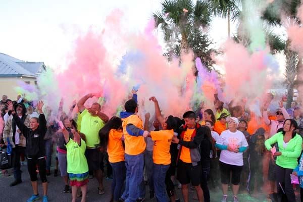 Group in colored powder during the color run.